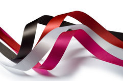 Ribbons pink, red, brown and white Royalty Free Stock Images