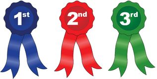 Ribbons Placing. 1st, 2nd and 3rd place ribbons Stock Photo
