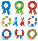 Ribbons, rosettes, awards. Design elements - ribbons, rosettes, awards, folded bow - red, green, blue, white, orange colors Royalty Free Stock Images