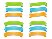 Ribbons set banners. Various ribbons set in three colors stock illustration