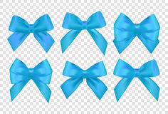 Ribbons set for Christmas gifts. Blue gift vector bows with ribb Stock Image