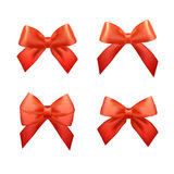 Ribbons set for Christmas gifts. Red gift bows Royalty Free Stock Photo