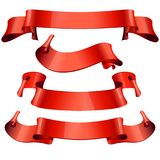 Ribbons set. Realistic Red Glossy paper ribbon Royalty Free Stock Image