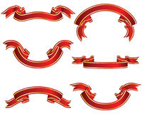 Ribbons set red. Set of different vector ribbons on white background Stock Images