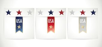 Ribbons set  in the traditional colors of USA flag Stock Photo