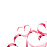 Ribbons shaped as hearts on white. Valentines day concept royalty free stock images