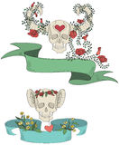 Ribbons with skulls, flowers and hearts Stock Image