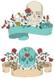 Ribbons with skulls, flowers and hearts Royalty Free Stock Images