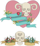 Ribbons with skulls, flowers and hearts Royalty Free Stock Photo