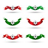 Ribbons with soccer ball Stock Photos