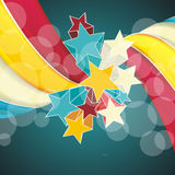 Ribbons and stars isolated on white background. Grunge carnival A retro circus background for a poster Royalty Free Illustration