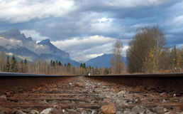 Ribbons of Steel. A low view of a set of railway tracks Royalty Free Stock Images