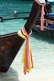 Ribbons on Thai long tail boat Royalty Free Stock Image