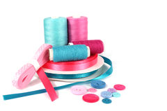 Ribbons and thread sewing items Stock Photo