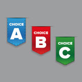 Ribbons with three choices: A, B and C Stock Images