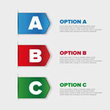 Ribbons with three choices: A, B and C Royalty Free Stock Image