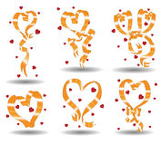 Ribbons valentine. There are ribbons with hearts form Stock Images