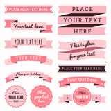 Ribbons vintage vector set in light and dark pink colors Royalty Free Stock Photo
