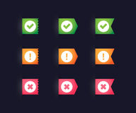 Ribbons whit check icons Royalty Free Stock Image