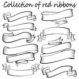 Ribbons on white background. Vintage style. Contouring tapes for gift wrapping and decorating greeting cards Stock Images