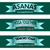 Ribbons whith words about yoga asanas, classes at open doors, seniors welness Stock Photo