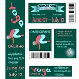 Ribbons whith words about yoga asanas, classes at open doors, seniors welness. Set for the festival classes of the conference on yoga. Member card, banner, back Royalty Free Stock Photos
