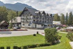 Ribcev Laz grodzki centrum blisko do Bohinj jeziora w Slovenia Obraz Stock