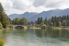 Ribcev Laz town and Bohinj lake landscape, Slovenia. Ribcev Laz town and Lake Bohinj in Slovenia. Triglav National Park in Julian Alps Royalty Free Stock Photography
