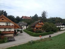 Ribcev Laz town. Located on the Bohinj lake in Slovenia Stock Photography