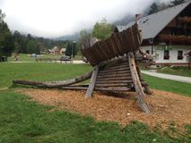 Ribcev Laz town. Located on the Bohinj lake in Slovenia Royalty Free Stock Image