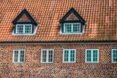 ribe的丹麦半木料半灰泥的传统房子 库存图片