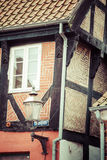 ribe的丹麦半木料半灰泥的传统房子 免版税库存照片
