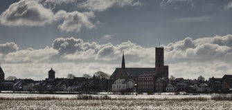 Cathedral in Ribe, Denmark seen from the marsh Royalty Free Stock Images