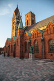 Ribe Cathedral in Denmark. With Sun and Blue Sky Royalty Free Stock Photo