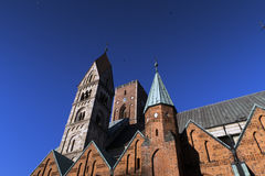 Ribe Cathedral in a low angle view Royalty Free Stock Image