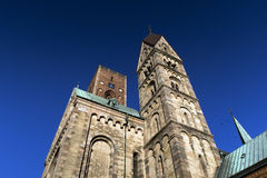 Ribe Cathedral in a low angle view Royalty Free Stock Images