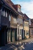 Ribe Danmark - April 30, 2017: Gammal stad av Ribe arkivfoton