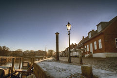 Ribe harbour and river Stock Photo