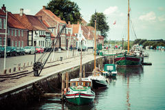 Ribe harbour Skibbroen. Old town and Ribe river,May 3, 2013 Stock Photography