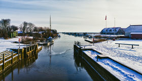 Ribe river seen from Kammerslusen Stock Images
