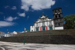 Ribeira重创的城镇厅,圣地米格尔海岛亚速尔群岛,葡萄牙 免版税库存图片