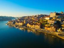 Ribeira в обширном свете дня, Порту, Португалии Стоковая Фотография RF