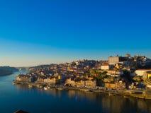Ribeira в обширном свете дня, Порту, Португалии Стоковое фото RF
