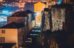 Ribeira area of Porto, Portugal at night. stock image