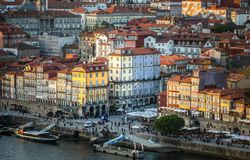 Free Ribeira District At Sunset From Bridge Dom Luis Stock Photos - 133466283