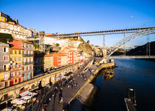 Ribeira District and Dom Luis Bridge, Porto, Portugal Royalty Free Stock Photography