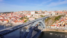 Ribeira District, Dom Luis I bridge and Douro River. Porto, Portugal stock video footage