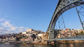 Ribeira, Douro River and Dom Luis I bridge in Porto, Portugal stock video