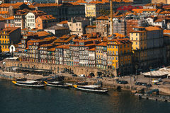 Ribeira at Duoro river in old downtown Porto Royalty Free Stock Photo