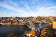 Ribeira en Dom Luis I brug, Porto, Portugal Stock Foto